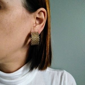 vintage 90's oversized mesh chain hoop earrings